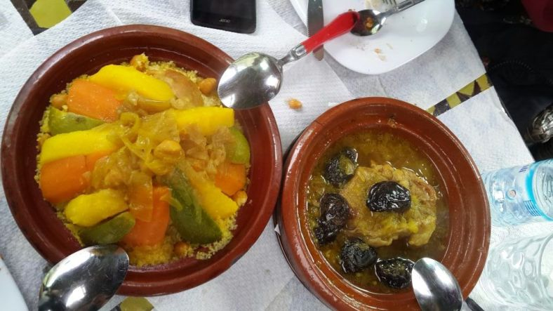 Chicken couscous and beef tagine