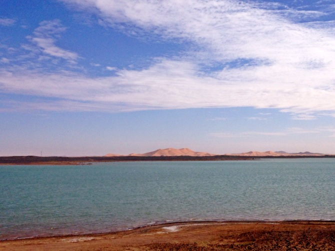 Lake nearby desert